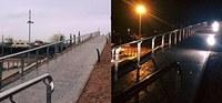 Encesa de les llums de la nova passarel·la que creua la via als costat del pont de Bellvís